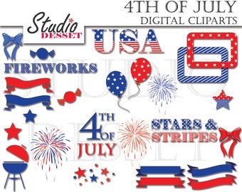 July 4th Cliparts, Patriotic Clip Art, American clip art, Flag clip art, 4th of July, Babrbeque C215