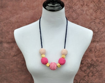 Teething Necklace - Pink and Navy - Nursing Jewlery