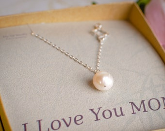Sterling SIlver Pearl Necklace - Solitaire Pearl Necklace w Off Center Silver Detail - Mother Of The Bride Necklace - Thank You Mothers Day