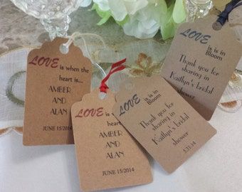 Rustic Personalized Favor Tags 2 1/2'', Wedding tags, Thank You tags, Favor tags, Gift tags, Bridal Shower Favor Tags,