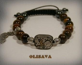 Mens  Steampunk bracelet of Tiger Eye Beads and vintage watch movement ,  Shamballa , mala bracelet , Clockwork Watch Movement BRACELET