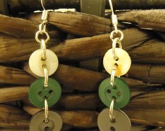 Handmade Vintage Button Dangle Earrings