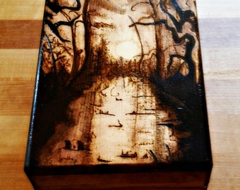 Wood- Burned Magic the Gathering Deck Box- Mono-color Swamp Example