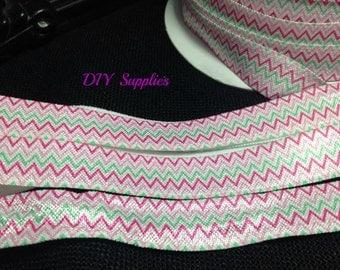 5 yards 5/8 green pink chevron elastic, FOE, Wholesale elastic, headband supplies, fold over elastic, elastic for hair ties,