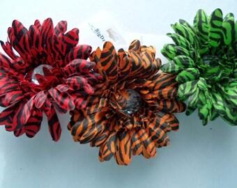"Zebra Hair Flower Clip, 4"" Hair Flower, Accessories, Color Choice, hair flower clip, Girls Hair Flower, Children,Toddler,Girls, zebra"