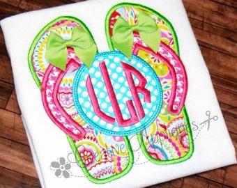 Flip Flops Monogram Machine Embroidery Applique Design 4 sizes Natural Circle Monogram Embroidery Font