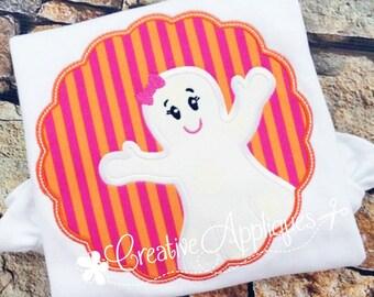 Ghost Girl Halloween Digital Machine Embroidery Applique Design 4 Size ghost applique, halloween applique, ghost embroidery, halloween ghost
