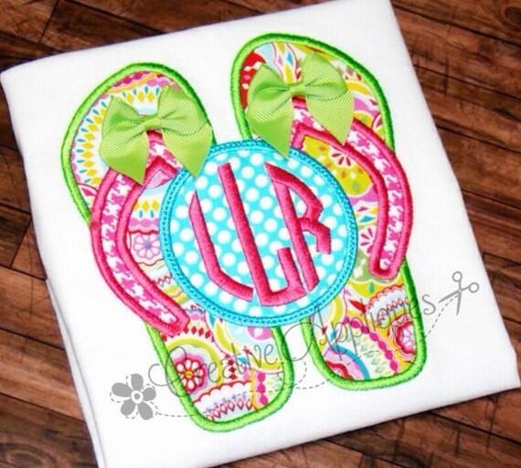 Flip flops monogram machine embroidery applique design