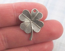 6 pc. Large 4-leaf Clover charm, 23x19mm, antique silver finish