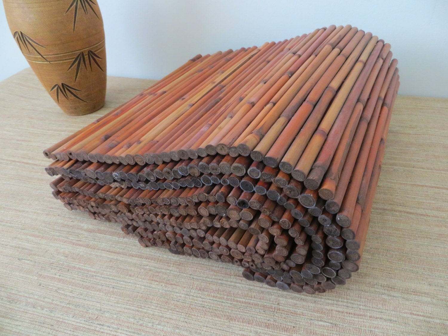 Vintage Large Bamboo Placemats Set Of Six