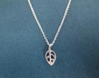 Tiniest, Silver, Skeleton, Leaf, Necklace