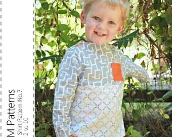 Boy's Shirt Pattern No.7 - pdf sewing pattern - Sizes 2 to 10