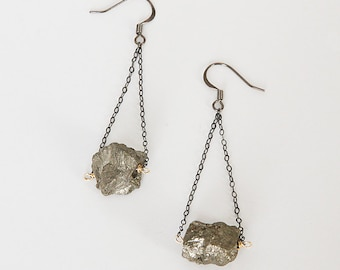 Pyrite Nuggets With Oxidized Sterling Silver Chain Earrings