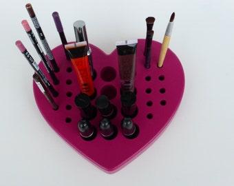 HEART - Pink Make up organizer - storage - brush,lipstick,pencil holder - stand - wood-makeup case -fuchsia
