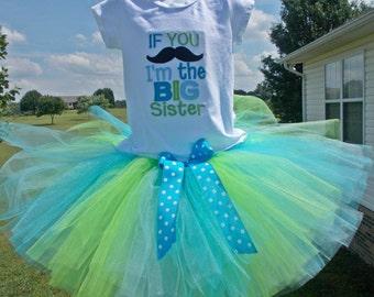 Big Sister Tutu Sets, Big Sister Tutu Sets, Big Sister Tutu Outfits, Big Sister Mustache Tutu Set, Mustache Big Sister Outfit