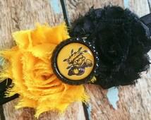 WICHITA STATE SHOCKERS shabby flower headband Baby Little Girl Hair Bow - Photo Prop