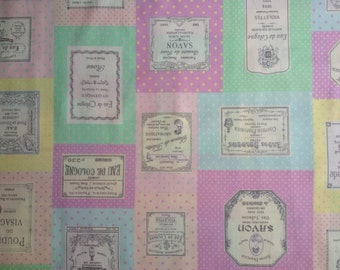 "Fat Quarter of France Vintage perfume Label by Yuwa in Pastel.  Approx. 18"" x 22""  Made in Japan"