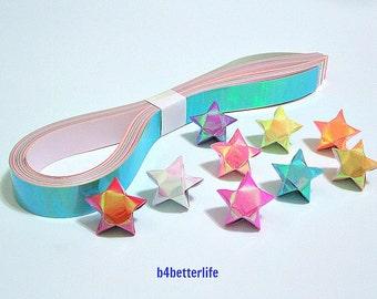 70 Strips of Origami Paper Stars Kit For Big Lucky Stars. 50cm x 1.8cm. (AV paper series). #SPK-132.