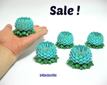 Sale! Lot of 5pcs Light Blue Color Small Origami Lotus. (RS paper series).