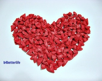 "150pcs Red Color Medium Size 3D Origami Hearts ""LOVE"" Hand-folded From Non Woven Felt Fabric Paper."