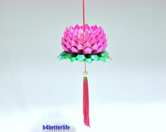 A Piece of Medium Size Pink Color Origami Hanging Lotus. (TX paper series).