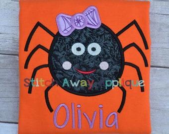 Girly Spider Halloween Machine Applique Design