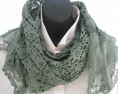 Repurposed vintage lace, hand dyed green shawl, hand dyed crochet, up-cycled vintage doilies, hand made romantic shawl, trendy lace scarf