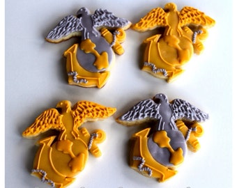 Half Dz. Marine EGA Emblem Cookies! Marines, Military, Nautical, Gold