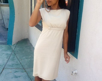 1960's Vintage Mad Men style Empire Waisted Cream Dress with Covered Buttons Detail