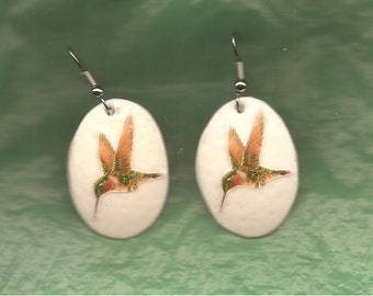 HUMMINGBIRD - EARRINGS - Ostrich Shell - Handcrafted - Unique
