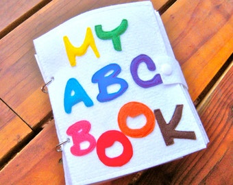 LETTERS/ABC quiet book (felt book/busy book) with snaps, buttons or velcro. Educational, Interactive toddler or preschool activity toy.
