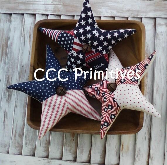 Primitive Americana Stars Bowl Filler - Americana Patchwork Stars - USA Bowl Filler  - Stars Bowl Filler - Prim Star Bowl Filler - Patchwork