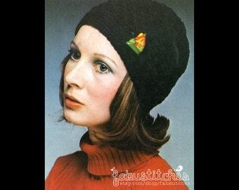 70s Hat - Vintage Crochet Pattern – INSTANT PDF DOWNLOAD - 200643