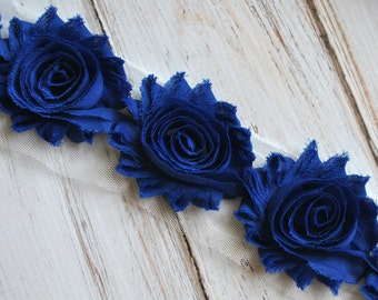 "2.5"" Royal Blue shabby flower trim - frayed chiffon - rose flowers by the yard - JT Royal Blue"