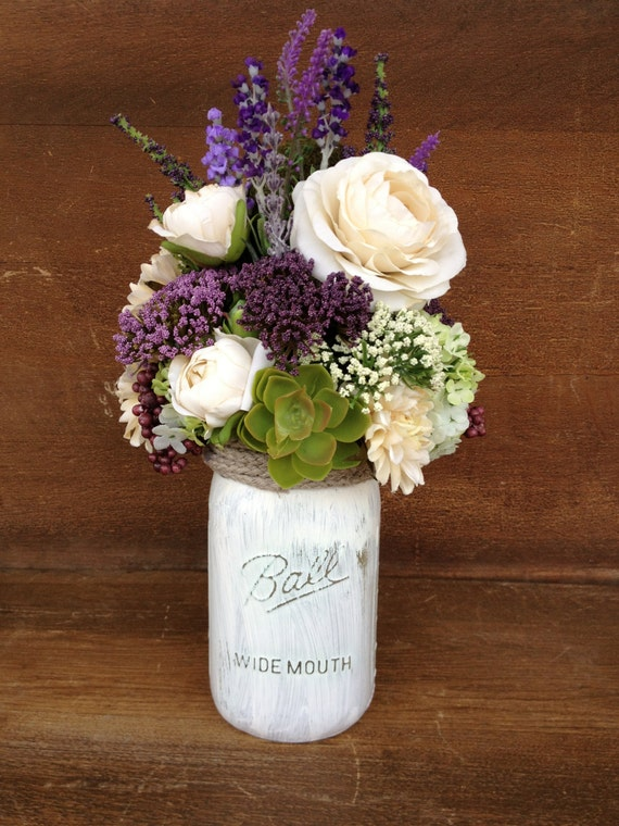 Mason jar arrangement purple and ivory silk floral