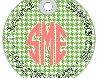 houndstooth personalized bag tag