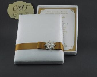 Couture, Winter White Dupioni Silk, Boxed Wedding & Event Invitation
