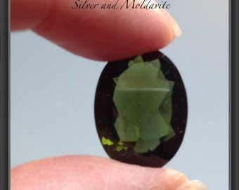 Moldavite BIG faceted oval stone 9.15ct