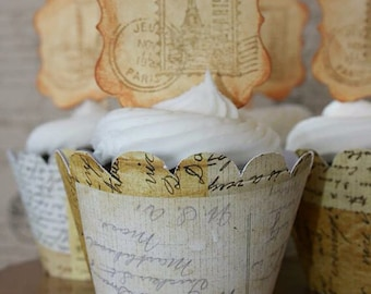 Travel Themed Cupcake Wrappers - Map Cupcake Wrappers - Vintage Travel Cupcake Wrappers