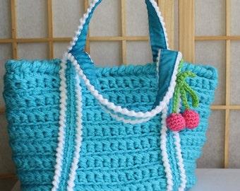 Hand Crocheted Bag Rasberry with Cherrys