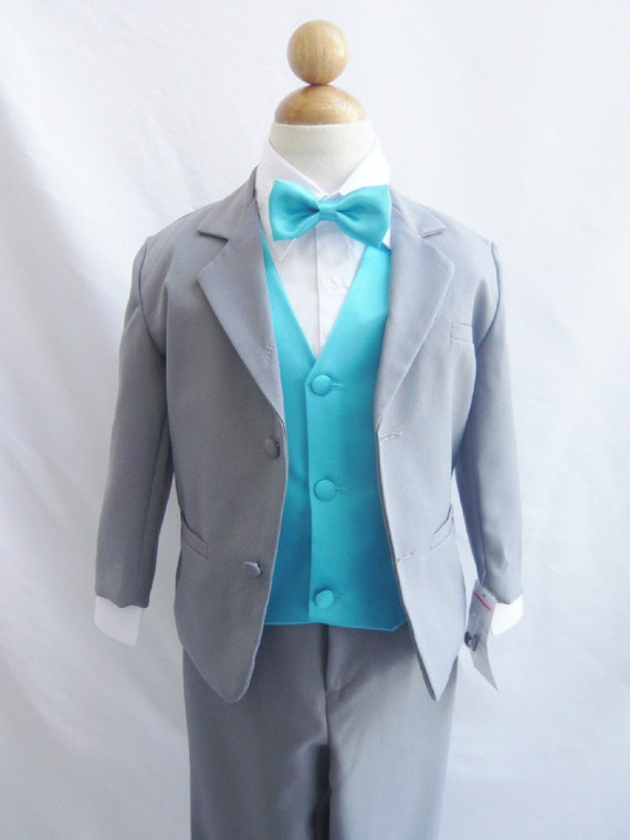 Style 1 Gray Boy Suit With Malibu Turquoise Vest By
