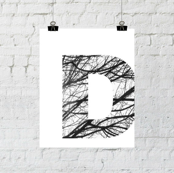D Monogram, Letter Decor, Scandinavian Design, Black and White Photography, Minimalist Tree Branch Art Instant Download Adoption Fundraiser
