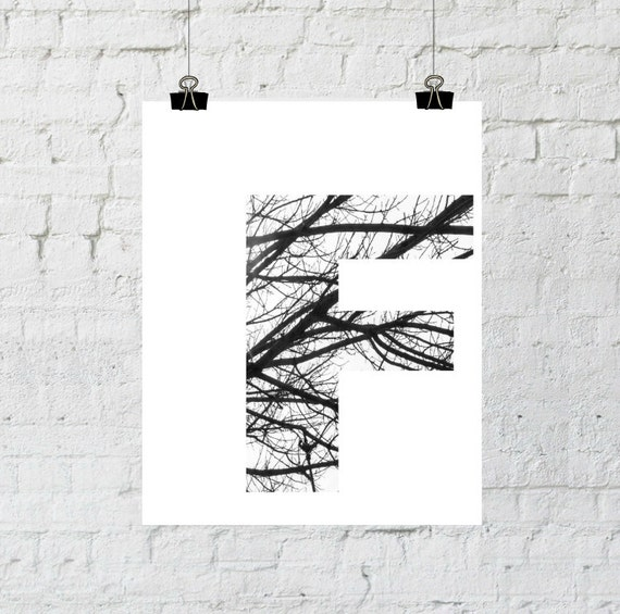 Letter F Wall Decor, Monogram, Scandinavian Art, Black and White Photography, Minimalist, Tree Branch, Instant Download-Adoption Fundraiser