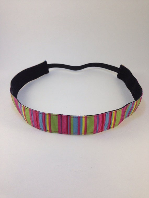 Multi-colored stripe non-slip headband for everyday and active wear