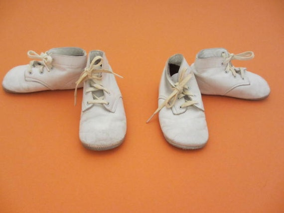 two pairs of vintage Ideal leather high top baby shoes size 3M
