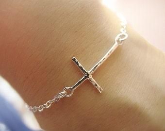 Sterling Silver Cross Bracelet Sideways Cross Bracelet Hammer Thin Cross Bracelet Everyday Cross Simple Gift for Best Friend Her Mom Sister