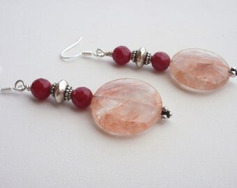 Red Jade Earrings, Cherry Quartz, Sterling Silver, Long Earrings, Contemporary Style, Dangle Earrings, Silver and Red, One of a Kind
