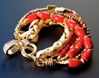 Red & Gold Bracelet, Jewelry Trends, Red and Gold, Crystal and Gold, Arm Candy, Stack Bracelet, Beaded Charm Bracelet, Jewelry Trends 2016