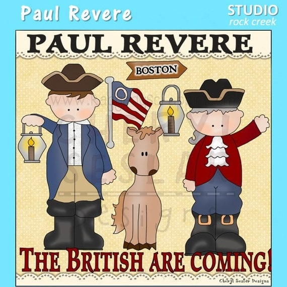 items similar to paul revere digital color clip art set on paul revere clip art images Paul Revere Pictures of Him