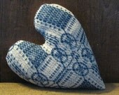 Antique Coverlet Heart from salvaged coverlet piece is approximately  9 x 7 inches  Ready to Ship